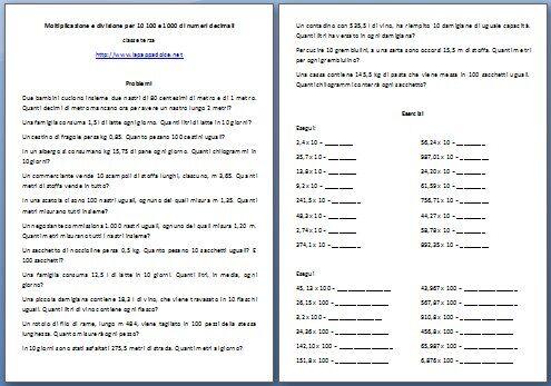Moltiplicazione e divisione per 10 100 e 1000 di numeri decimali