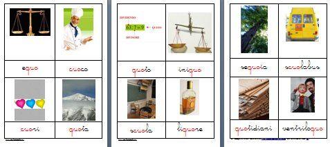 Metodo Montessori schede delle nomenclature