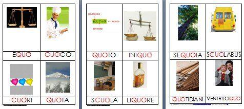 Metodo Montessori schede delle nomenclature per le difficoltà ortografiche CUO QUO