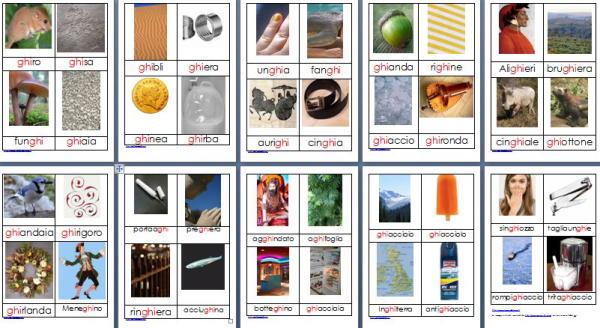 Metodo Montessori schede delle nomenclature per le difficoltà ortografiche GHI