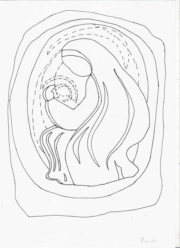 Vetrofania natalizia Maria con bambino