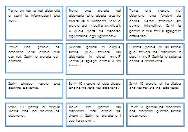 Cartellini dei comandi per l'uso del dizionario.