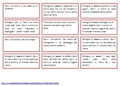 Cartellini di idee per comporre storie.
