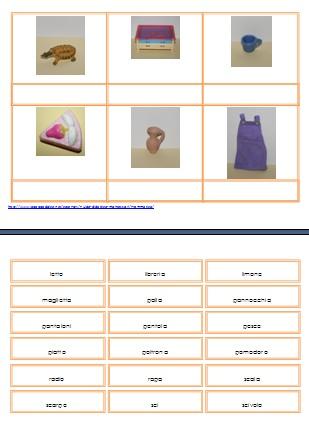 La pratica della lettura secondo il metodo Montessori Schede delle sei immagini.
