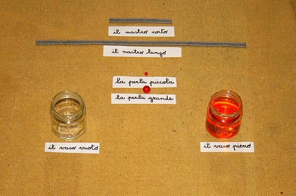 Contrari o antonimi col metodo Montessori