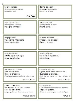 cartellini di haiku da leggere