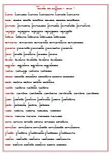 tavola dei suffissi Montessori 1