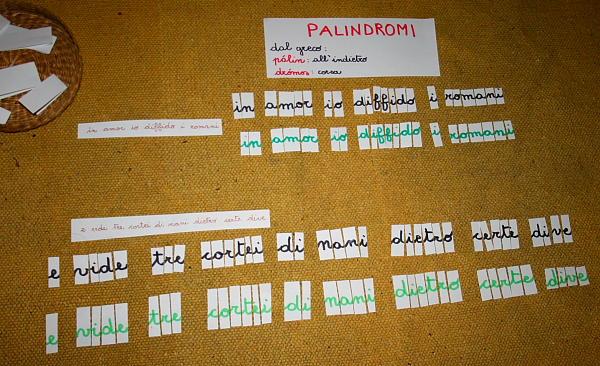 Palindromi con il metodo Montessori
