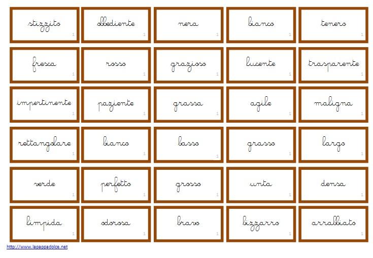 cartellini per la concordanza nome aggettivo CORSIVO 35