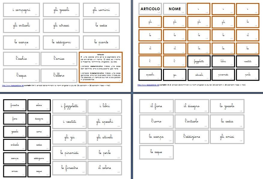 cartellini scatola grammaticale I corsivo 2