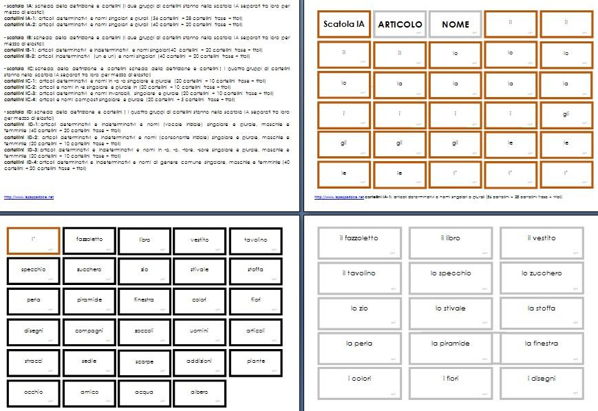 cartellini scatola grammaticale I stampato 2