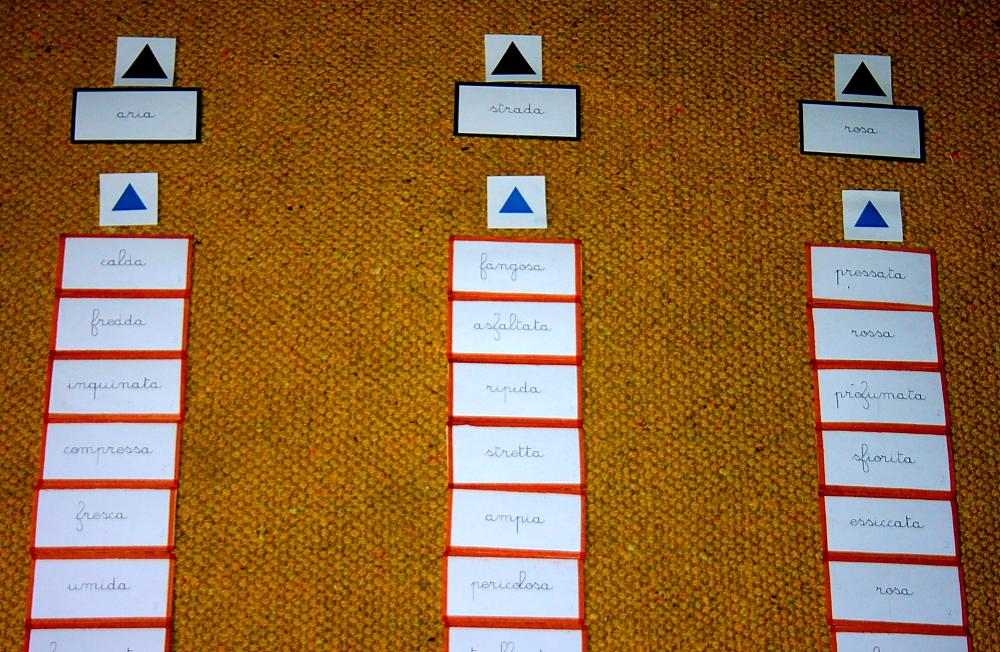 concordanza nomi aggettivi Montessori 18