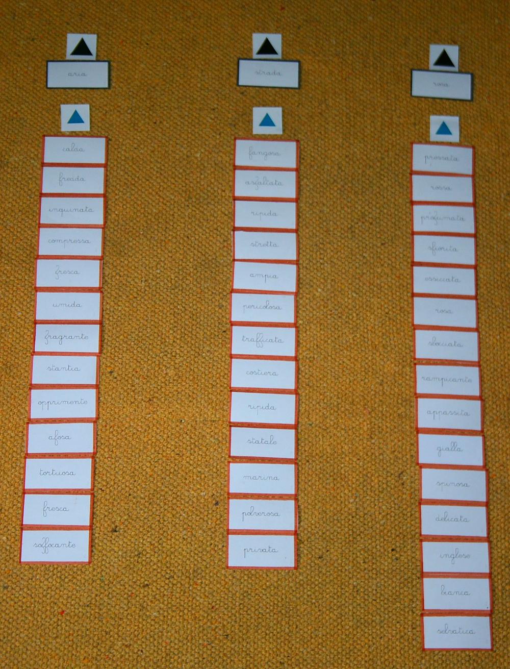 concordanza nomi aggettivi Montessori 19