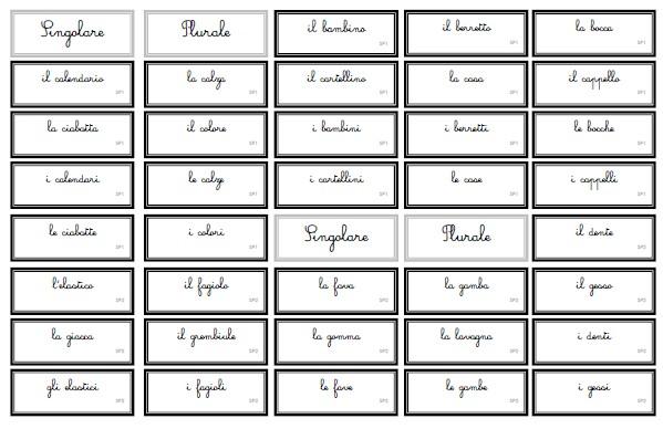 singolare e plurale Montessori 1