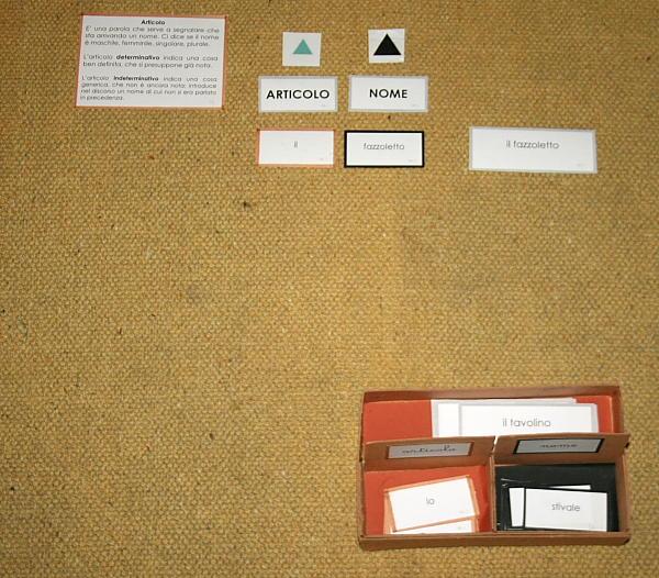 Psicogrammatica Montessori SCATOLA GRAMMATICALE I articolo e nome