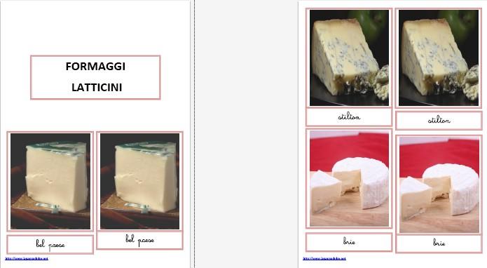 nomenclature 3-6 anni FORMAGGI E LATTICINI corsivo 13