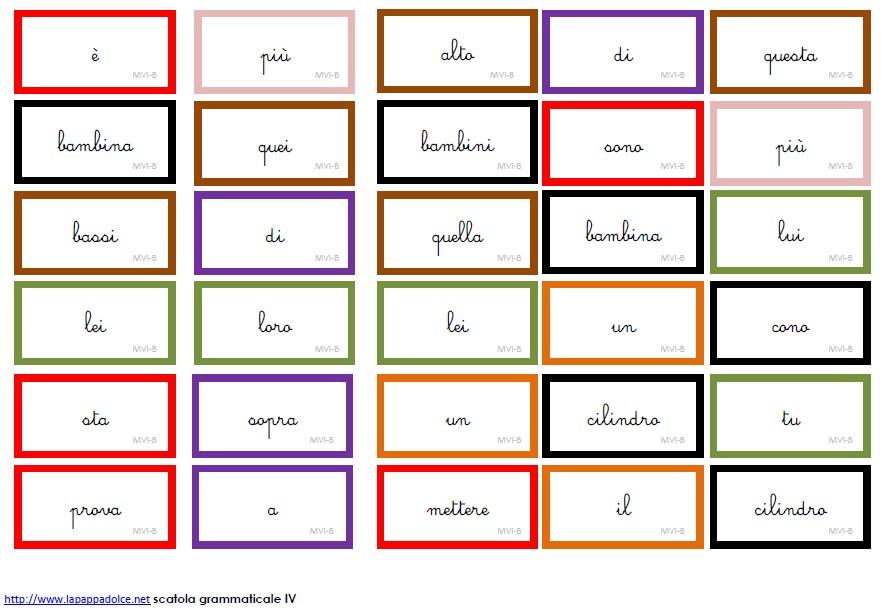 cartellini scatola grammaticale VI MONTESSORI corsivo 18