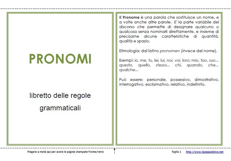 libro delle regole grammaticali PRONOME 27