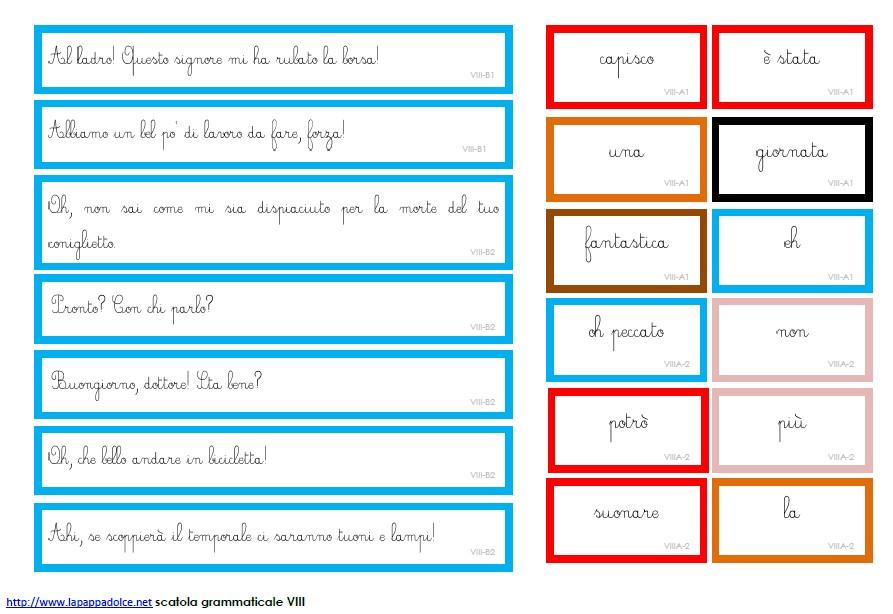 Cartellini scatola grammaticale VIII - CORSIVO 11