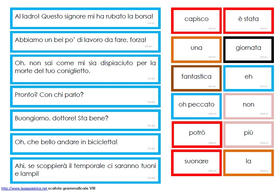 Cartellini scatola grammaticale VIII - STAMPATO MINUSCOLO 18
