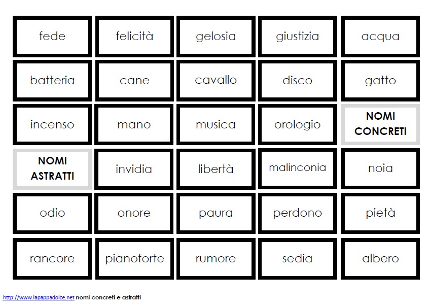 cartellini NOMI CONCRETI E ASTRATTI stampato minuscolo 19
