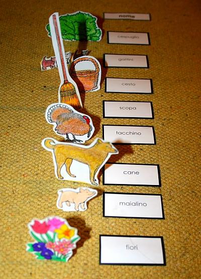 Il gioco della fattoria Montessori per il nome