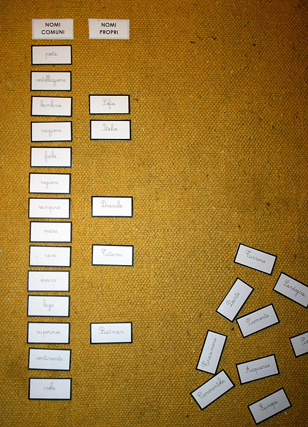 Psicogrammatica montessori nomi comuni e nomi propri for Nomi dei gemelli diversi