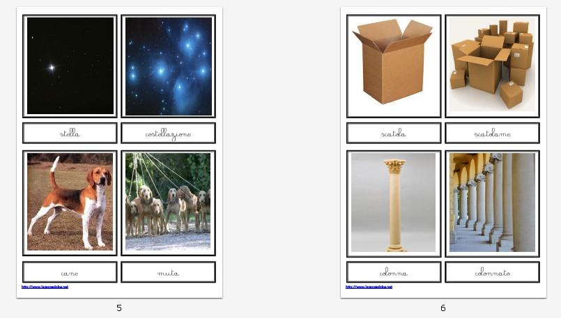 presentazione NOMI INDIVIDUALI e COLLETTIVI carte illustrate CORSIVO 109