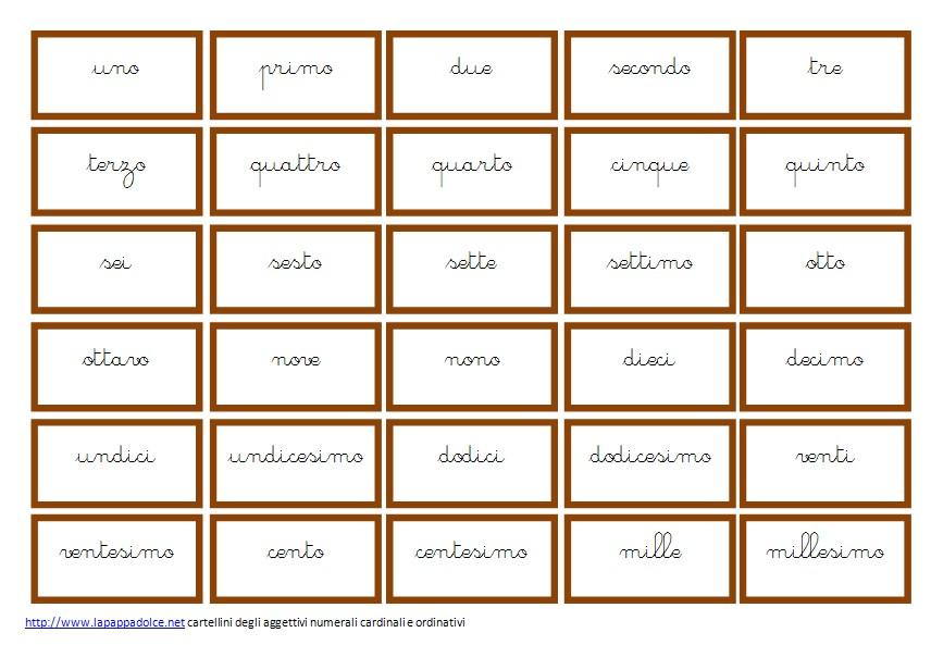 Cartellini degli aggettivi quantitativi CORSIVO 9