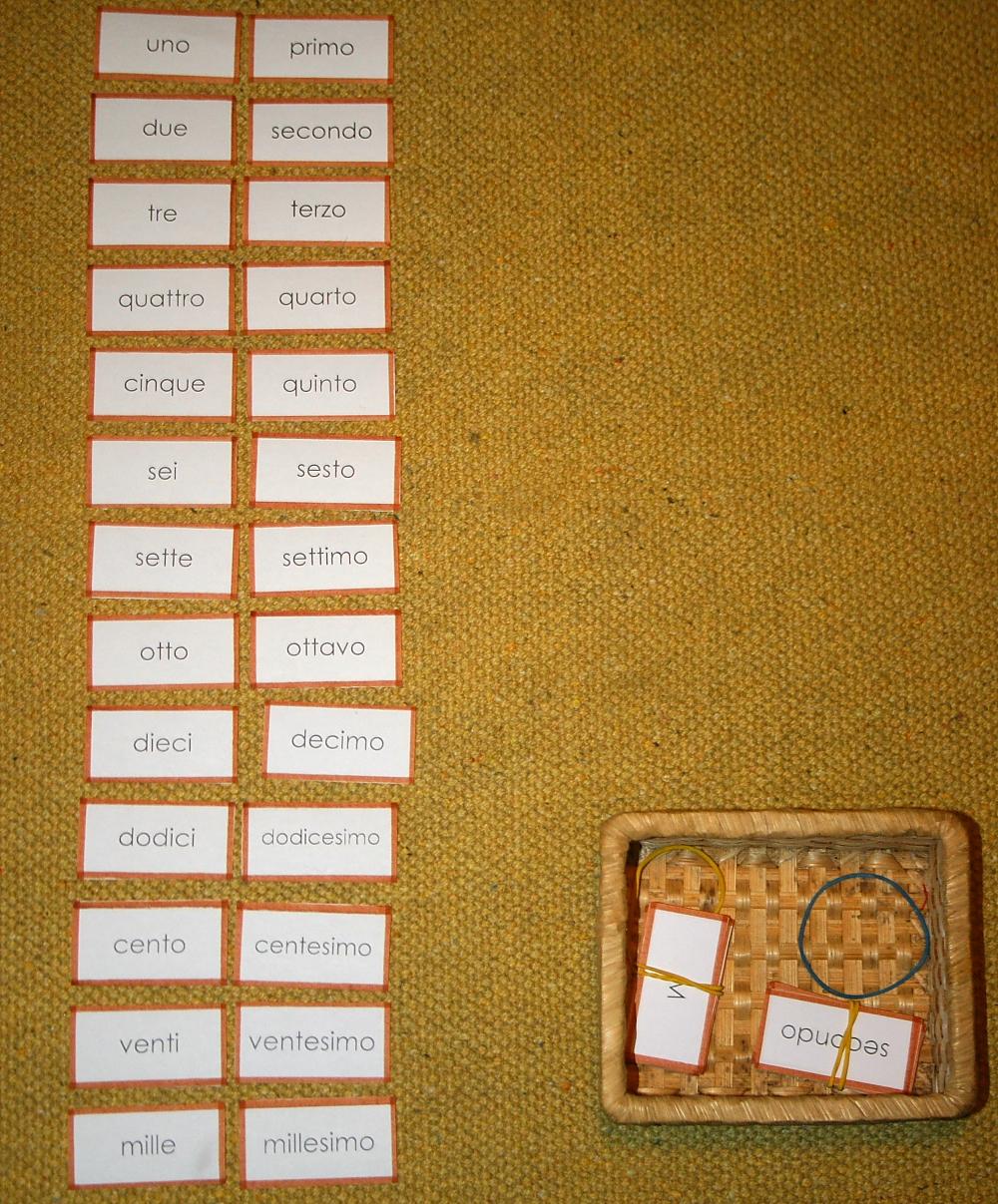 aggettivo numerale Montessori 8