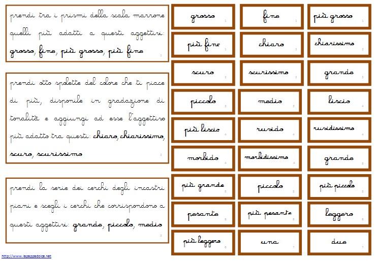 comandi aggettivi Montessori corsivo 10