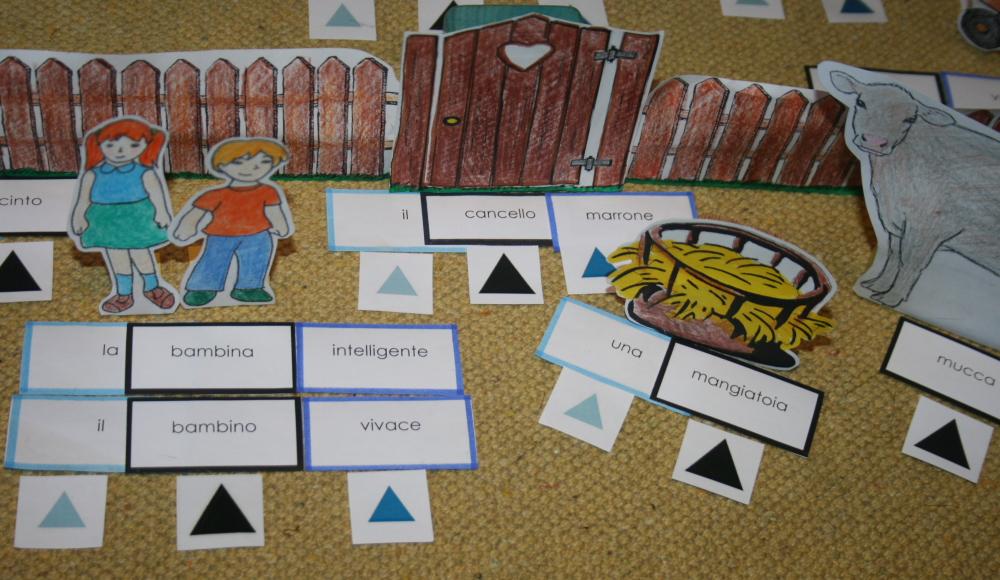 Psicogrammatica Montessori: il gioco della fattoria per l'aggettivo