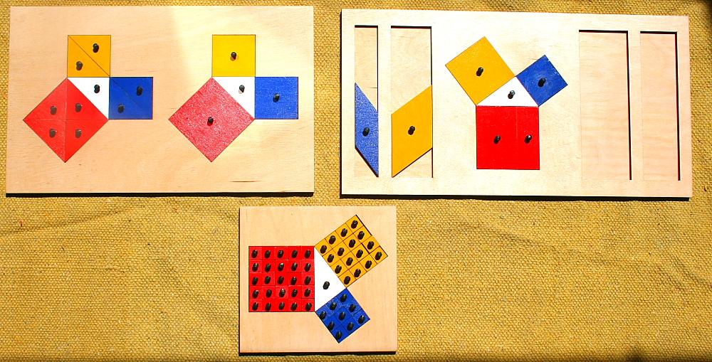 La dimostrazione del teorema di Pitagora col metodo Montessori