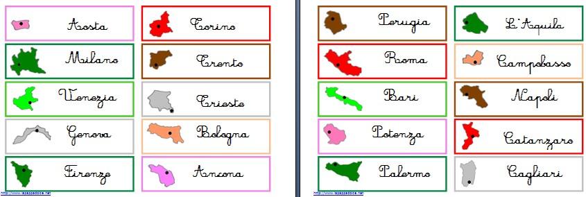 Cartina D Italia Con Capoluoghi Di Regione.Materiali Stampabili Per L Incastro Dell Italia Montessori Lapappadolce