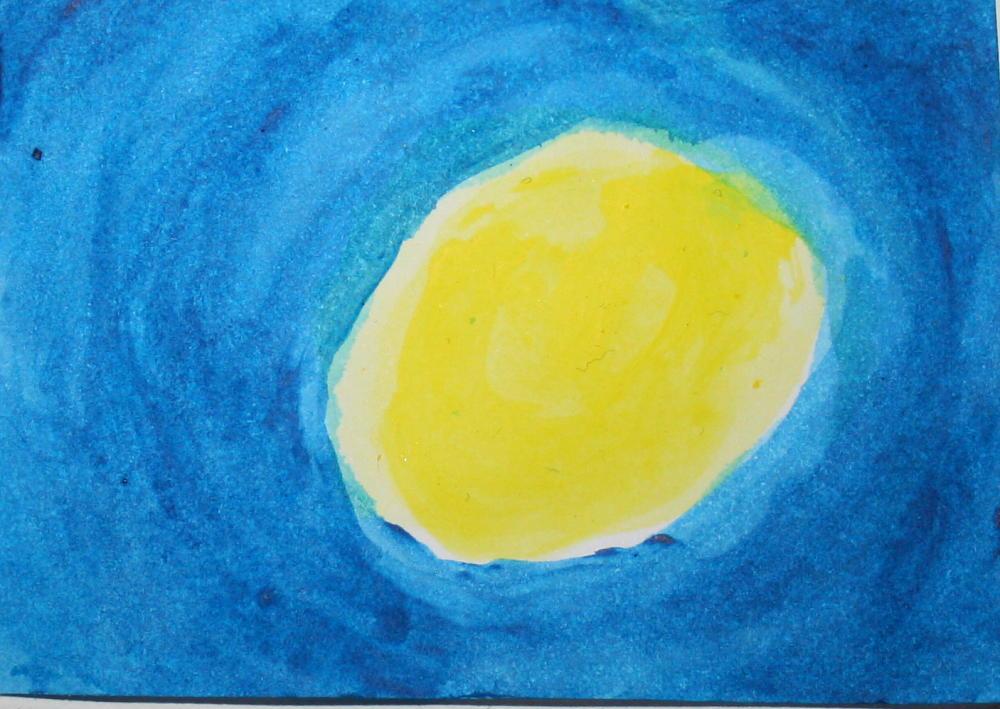 Acquarello Waldorf con blu e giallo