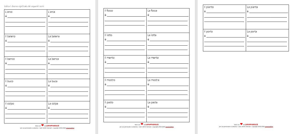 Nomi di genere maschile e femminile esercizi per la for Maschile e femminile esercizi