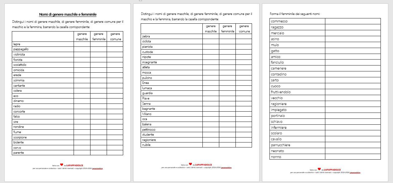 nomi di genere maschile e femminile esercizi per la
